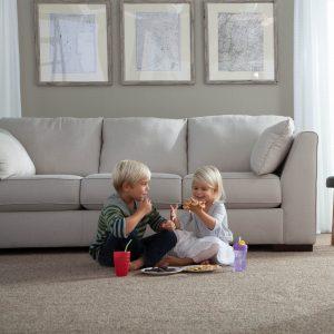Kids eating on grey Carpet | Price Flooring